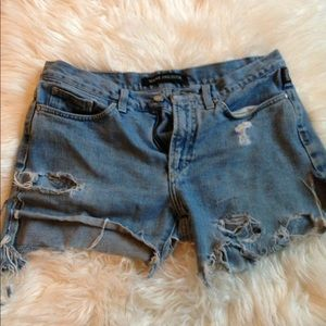 Vintage custom Versace high waisted jean shorts